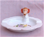 Vintage Dog Head Japan Floral Ashtray Ash Tray