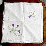 Lovely Linen Embroidered Tea Cloth Thistle