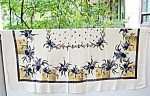 Vntg.printed Large Tablecloth Blue Orchids