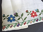 Embroidered Floral Tray Cloth-sampler Like