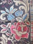 Antique Tapestry Blue Burgundy Roses Belgium