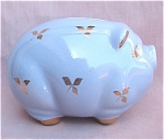 Vintage Porcelain Blue Pig Piggy Bank