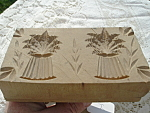 Early Butter Mold Stamp Handcarved Wood Double Wheat