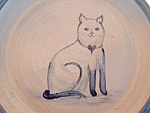 Primitive Folk Art Cat Pottery Plate