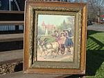 Victorian Litho Children Playing Goat Cart Framed Civil War