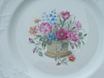 Limoges France Bouquet Cabinet Bread Plate Embossed Mint