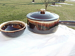 Brown Drip Beanpot Casserole 12 Bowls Set Mint Usa Marked
