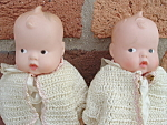 Twin Baby Dolls Wettingpair Christening Gown Crocheted Outf