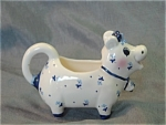 Cow Creamer Josef Blue Flowered Bow Bell Mint Marked