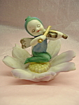 Bisque Flower Fairy Playing Violin Hp Lefton Mint