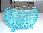Blue Diamond Cut Footed Glass Candybowl Brillant Mint