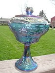 Carnival Glass Compote Irridescent Gorgeous Indiana Old