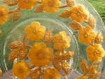 Goofus Glass Plate Unusual Orange Gold Daisy Mint
