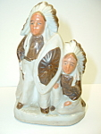 Native Indian Chief Toothpick Match Holder Bisque Figural