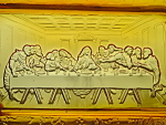 Amber Glass Bread Tray Last Supper Grapes