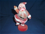 Old Waving Santa Claus Plastic Red Felt As Found