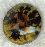 Slag Art Glass Button, Amber, Black & White