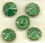 5 Green Glass Buttons With Gold Trim.
