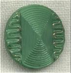 Green Glass Button Gold Trim High Dome