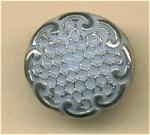 Blue Glass Button With Silvertone Trim.