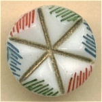 Vintage Painted Deep Molded Glass Button