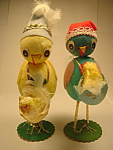 Origami Art Paper Chicken Hm Pair Old Japan Marked Mint
