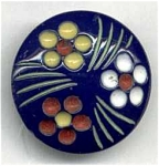 Blue Glass Button With Painted Flowers