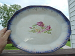 Antique Flow Blue Shabby Rose Platter