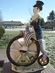 Lefton Figural Planter Man On Unicycle Tricycle Mint