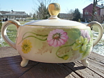 Nippon Sugar Bowl W Lid Footed Hp Gold Accents Tea Room