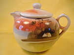 Pastoral Scene Hp Creamer Doughnut Handle Japan Mint