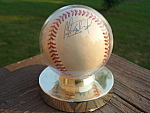 Oriole Dave Johnson Signed Baseball Enclosed Display Stand