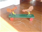 Pull Pecking Toy Wood Rooster Country