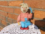Tin Wind Up Toy Rabbit On Telephone Made In Japan