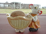 Little Mouse Baby Carriage Sewing Pin Cushion Made In Japan