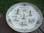 1965 New York Worlds Fair Souvenir Plate Flow Blue Old Mint