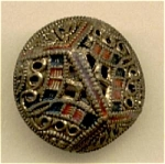 Vintage 2 Part Puffed Metal Pierced Button Painted