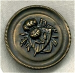 Vintage Metal Button With Shield, Sword & Plume