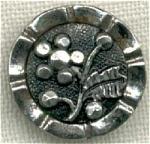 Vintage Floral Design 2 Part White Metal Button