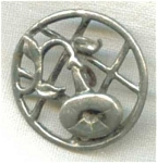 Art Nouveau Morning Glory Pewter Button