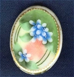 Hand Painted China Stud Cuff Button Flowers #1