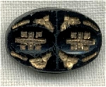 Oval Black Glass Incised Molded Button