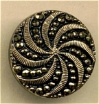 Black Glass Button With Gold Trim Spiral Motif