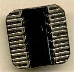 Square Black Glass Button With Goldtone Trim