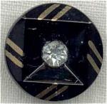 Black Glass Button Gold Trim Rhinestone