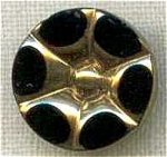 Vintage Black Glass Gold Trim Button Flower