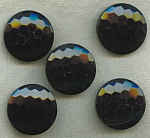 5 Black Glass Le Chic Buttons