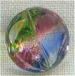 Clear Glass Button Colored Rainbow