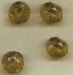 4 Vintage Amber Transparent Glass Buttons