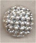 Vintage White Plastic Button W/ Rhinestones